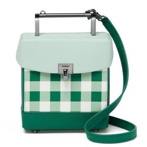 NWT Botkier Green Gingham Lennox Mini Lunchbox Bag